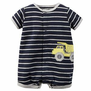 dfb98340d New Carter's Boys Summer Romper Truck Applique Outfit NWT 3m 6m Navy ...