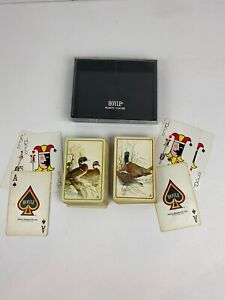 Vintage-Hoyle-Plastic-Coated-Playing-Cards-Ducks-Pheasants-in-plastic-case