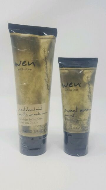 WEN Sweet Almond Mint Cleansing Conditioner 2 OZ + Styling Creme 4 OZ Chaz Dean
