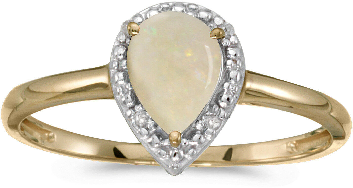 14k Yellow gold Pear Opal And Diamond Ring (CM-RM2616X-10)