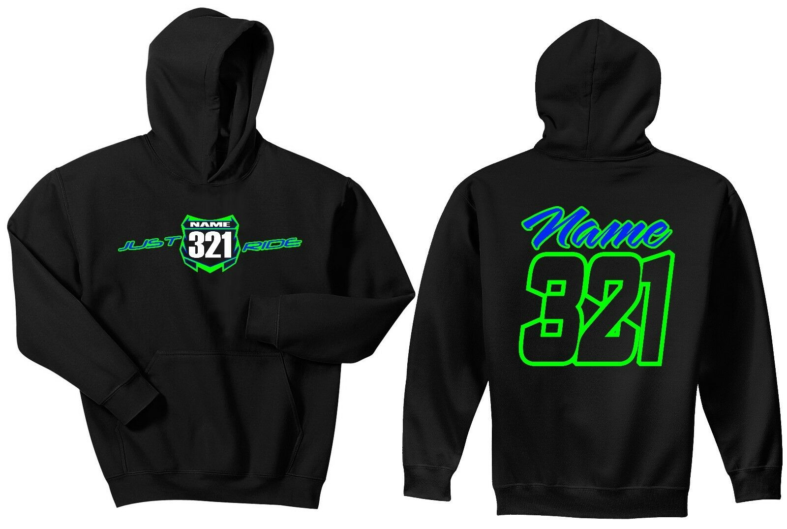 JUST RIDE CUSTOM NUMBER PLATE HOODIE SWEAT SHIRT MX MOTOCROSS KX KAWASAKI LIME