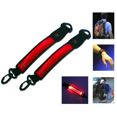 RED LED Light Strips with Clip for Bicycle Reflector Backpack ROADSIDE SAFETY