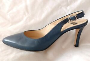 Used Ladies Blue alto Bata 36 con Taglia Womens Sling Back Leather Scarpe tacco 3 qFttE5w