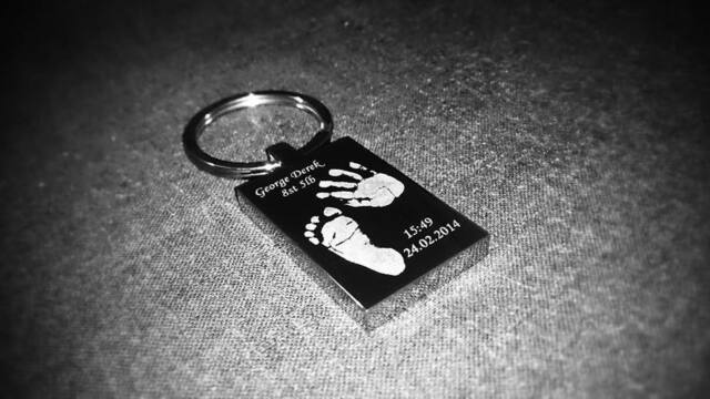 Double sided Engraved Rectangle Keyring  Hand/ Foot Print / Kids Drawing / Photo