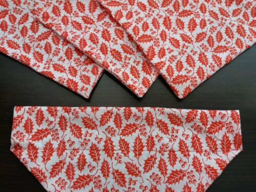 Slide on dog bandana size XS in Christmas white with red holly  polycotton