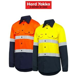 Mens-Hard-Yakka-Safety-Hi-Vis-Vented-Cotton-Taped-Work-Long-Sleeve-Shirt-Y07940