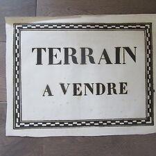 AFFICHE ANCIENNE 1810 TERRAIN A VENDRE MAISON IMMOBILIER IMPRIMERIE