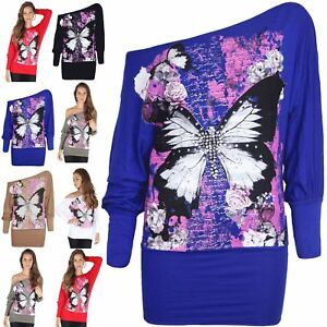 78a92088 Ladies Off Shoulder Bardot Tshirt Womens Oversize Baggy Butterfly Batwing  Top Tops & Shirts Women's Clothing