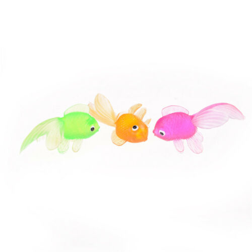 20pcs Plastic simulation petit poisson rouge en caoutchouc Soft Gold HQ