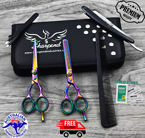 Professional-Barber-Hairdressing-Scissors-Thinning-amp-Hair-Cutting-Set-5-5-034-Multi