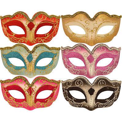 Childs Venetian Eye Mask Fancy Dress Kids Masquerade Ball Glitter Swirl Mask
