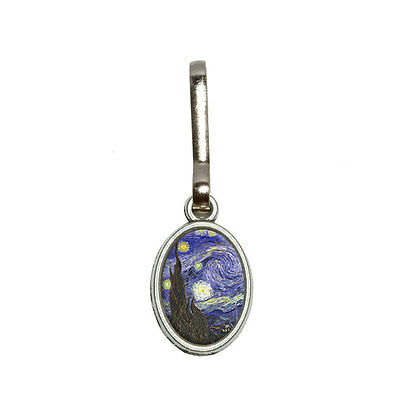 Starry Night - Vincent Van Gogh - Antiqued Oval Charm Purse Backpack Zipper Pull