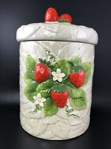 Vintage-1981-Sears-Roebuck-amp-Co-Strawberry-Ceramic-Canister-Cookie-Jar-Japan-9-034