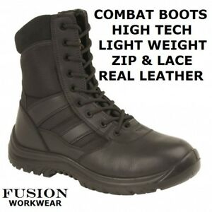 COMBAT-BOOTS-ARMY-BOOTS-PARA-MILITARY-LEATHER-LIGHT-COMFORT-LEATHER-LACE-amp-ZIP