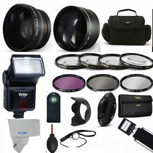 PRO-FLASH-WIDE-ANGLE-LENS-TELEPHOTO-ZOOM-LENS-PRO-KIT-FOR-CANON-EOS-REBEL-SL2