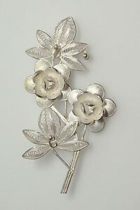 Rose Brooch Solid Sterling Silver Hallmarked Jewelry & Watches