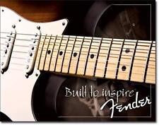 Fender Gitarre USA Metall Gitarren Deko Plakat - Built to Inspire