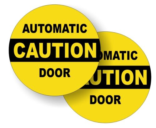 AUTOMATIC DOOR Vinyl Glass Door Decals Caution Stickers Labels Entry Safety