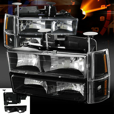 94-98 GMC C10 Sierra Suburban Black Headlights Bumper Corner Signal Lights 8PC