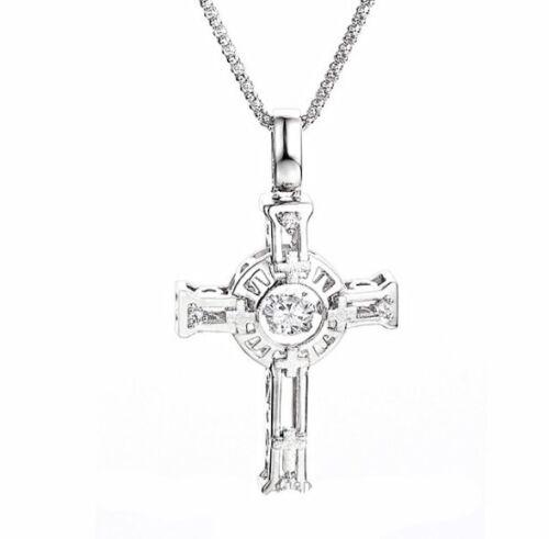 Dancing Swaying Stone Cross Pendant 925 Sterling Silver