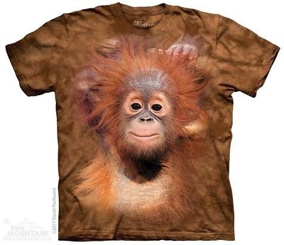 Monkey Childs Sizes NEW Big Face Baby Orangutan Kids T-Shirt from The Mountain