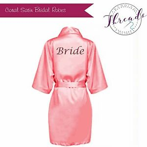 Image Is Loading Personalised C Satin Bridal Robe Bride Dressing Gowns