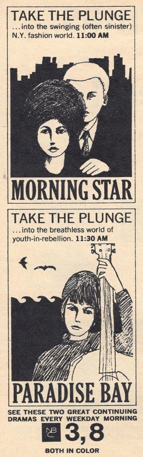Image 1 - 1967 NBC TV AD~MORNING STAR~PARADISE BAY~NEW YORK FASHION~YOUTH IN REBELLION