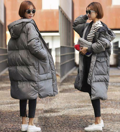 New warm winter womens loose cotton padded long coat parka hooded outwear