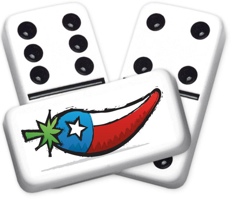 Texana Series Texas Flag Pepper Design Double six Professional Dimensione Dominoes