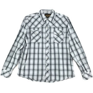 Prototype-Pearl-Snap-Shirt-Mens-Size-XL-Blue-Gray-Long-Sleeve-Button-Front