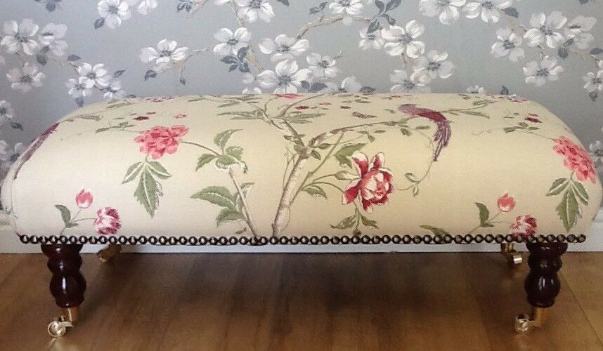 Footstool In Laura Ashley Summer Palace Grape Fabric