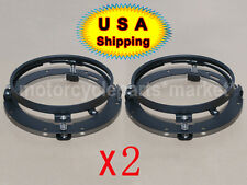 "USA 2 X Black 7"" Round Headlight Bezel Headlamp Mount Ring Bracket Jeep Wrangler"