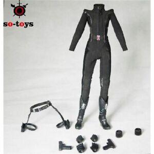 SO-TOYS SO-T01 Custom Female Black Widow Jumpsuit uniform Suit 1//6 NO BODY HEAD