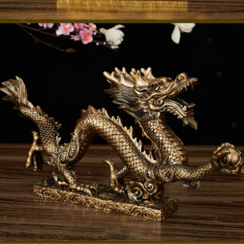 1 Piece Old Lucky Chinese Handwork Bronze Fengshui Dragon Prosperity Statue