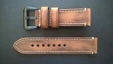 WATCH STRAP/BAND - GENUINE VINTAGE HORSE LEATHER-PAM-PANERAI HANDMADE 24mm