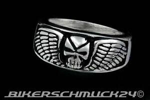 Biker-Schmuck-Totenkopf-Ring-Adlerfluegel-Wing-Edelstahl-Skull-Herren-Geschenk