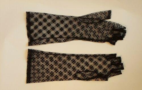Vintage 80s Ladies Gloves Black Lace Fingerless Di