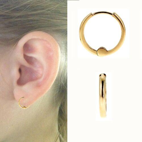 14k or jaune petit bébé Huggies Huggy Hoops Boucles d/'oreilles créoles 1.5 mm x 9 mm
