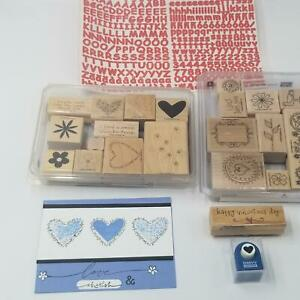 Stampin-Up-Simply-Said-Marvy-Heart-Punch-Rubber-Stamps-Valentines-ABC-123-Lot-5