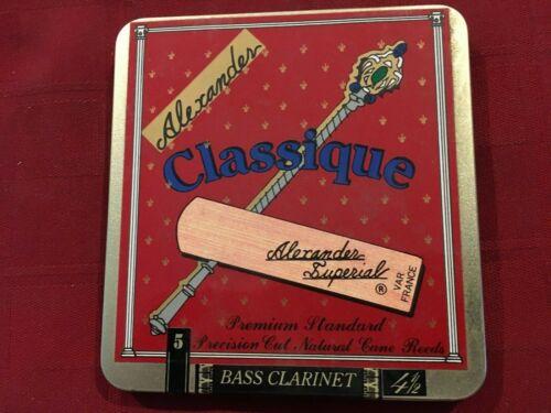 5 ALEXANDER CLASSIQUE BASS CLARINET REEDS SIZE #4 1//2  4.5