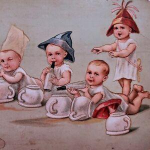 Antique-German-Postcard-Babies-Roleplaying-Shooting-Guns-w-Bottles-2996-Hats