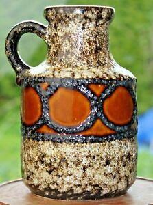 Vase-German-pottery-60er-60s-70er-70s-Fat-Lava-Keramik-vintage-braun-Hoehe-16-cm