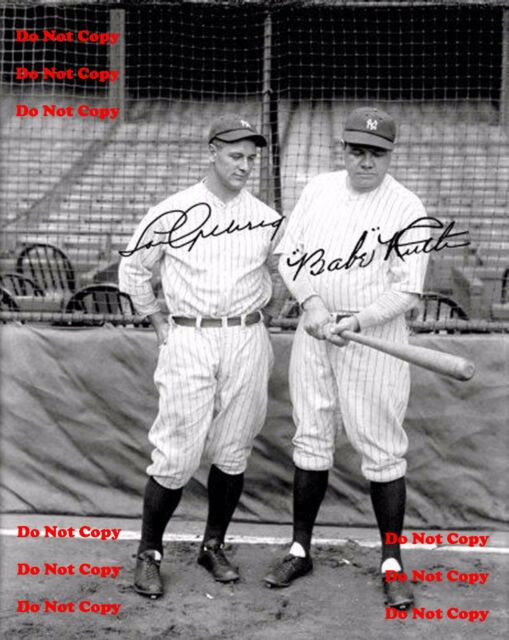Babe Ruth Lou Gehrig autographed Reprint 8x10 Photo New York Yankees Man Cave