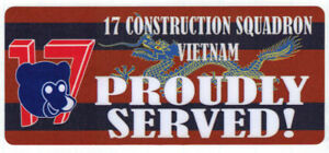 17 CONSTRUCTION SQUADRON VIETNAM PROUDLY SERVED LAMINATED STICKER 80X180MM TYPE2