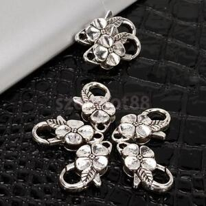 10x Tibetan Silver Flower Lobster Connector Clasp DIY Jewelry Findings 25mm