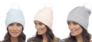 Foxbury Ladies Fluffy Beanie Bobble Hat with Faux Fur Pom Pom One ... da3b4e3423b