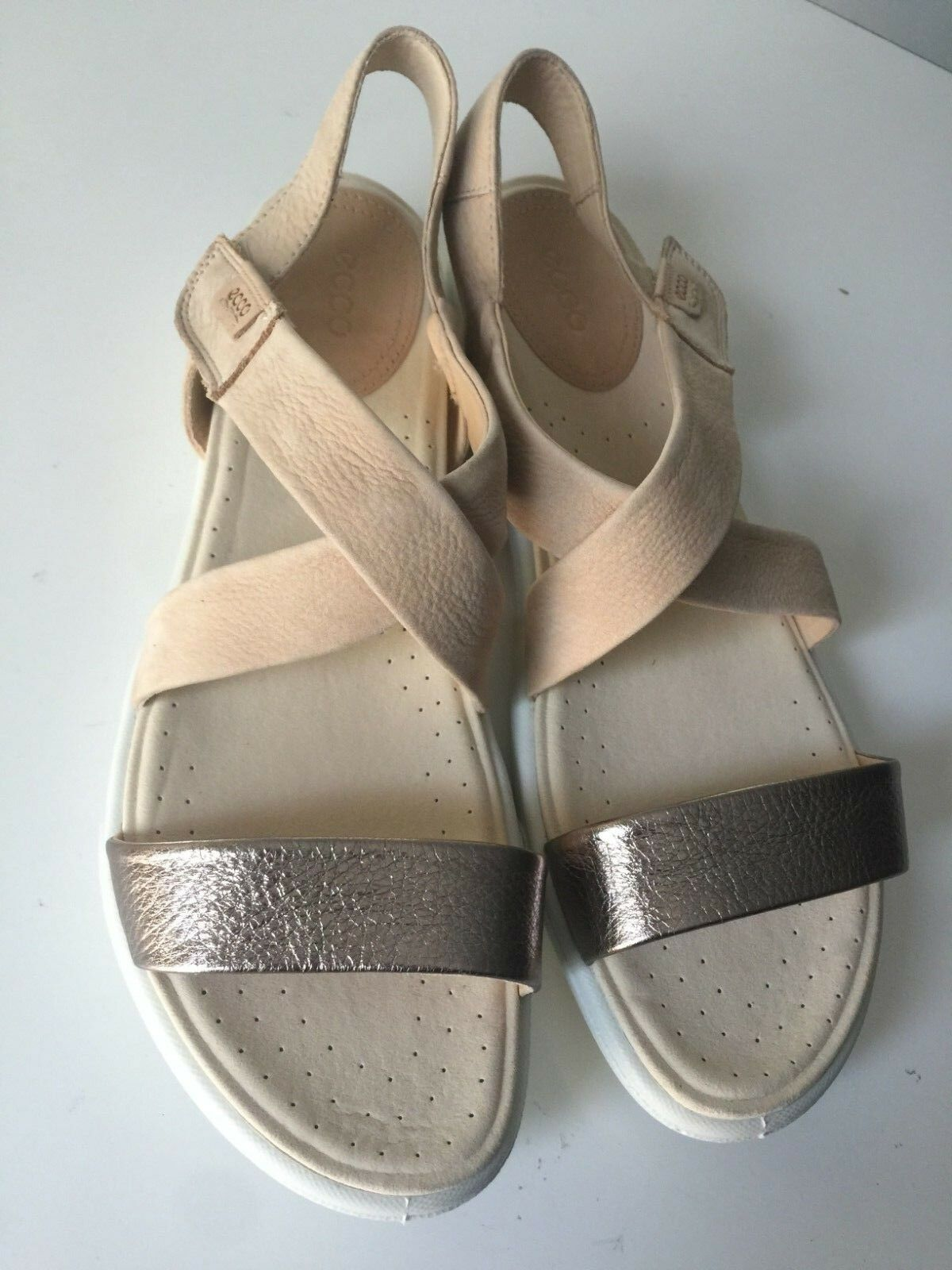 Ecco Damara Warm grå Powder Leather mycket-rem Tillfällig Öppen-toe sandaler 42 11