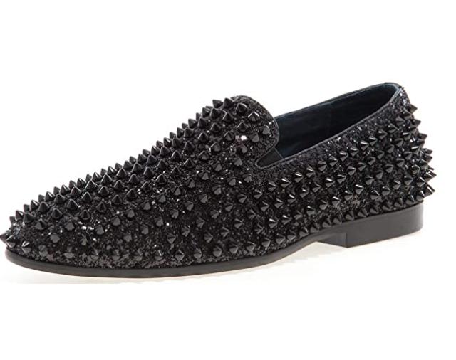 JUMP Newyork Men's Luxor Black Spike and Glitter Smoking Slipper Shoes Size 11
