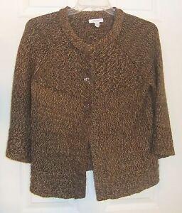 Dressbarn-Womens-Sz-M-Brown-Cardigan-3-Button-Sweater