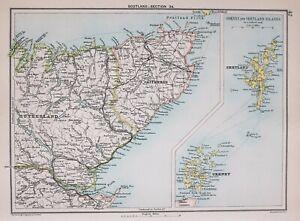 1894 Landkarte East Schottland Caithness Sutherland Orkney & Shetland Inseln